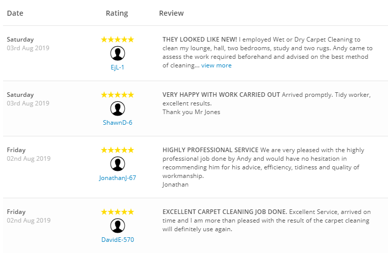 Yell Reviews for Wet or Dry Carpet Cleaning