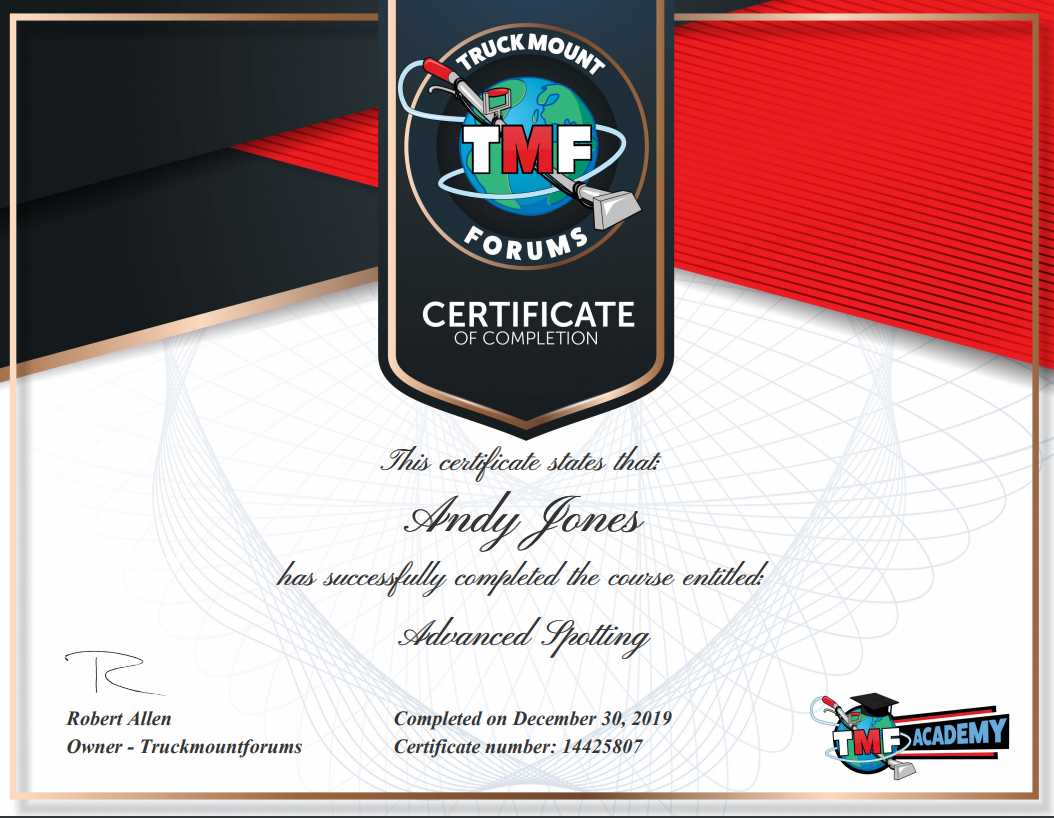 Advanced Spotting Certificate