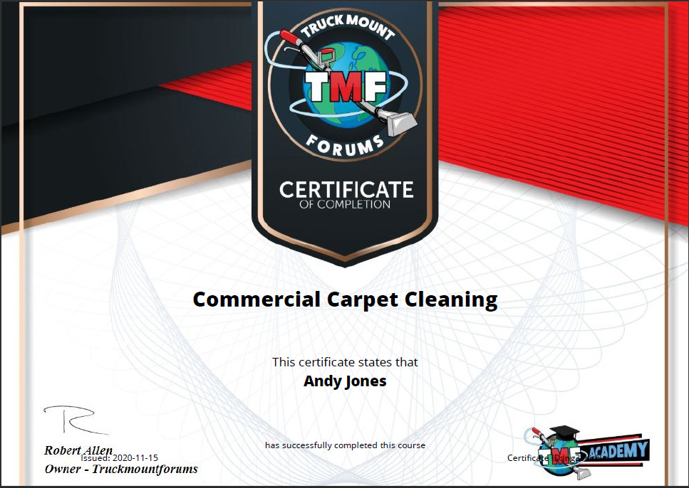 Commercial Cleaning Certificate