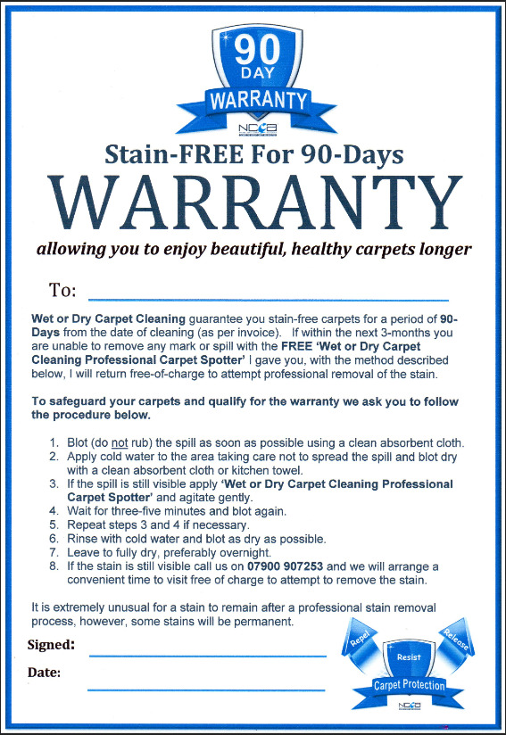 90 Day Stainsafe Warranty